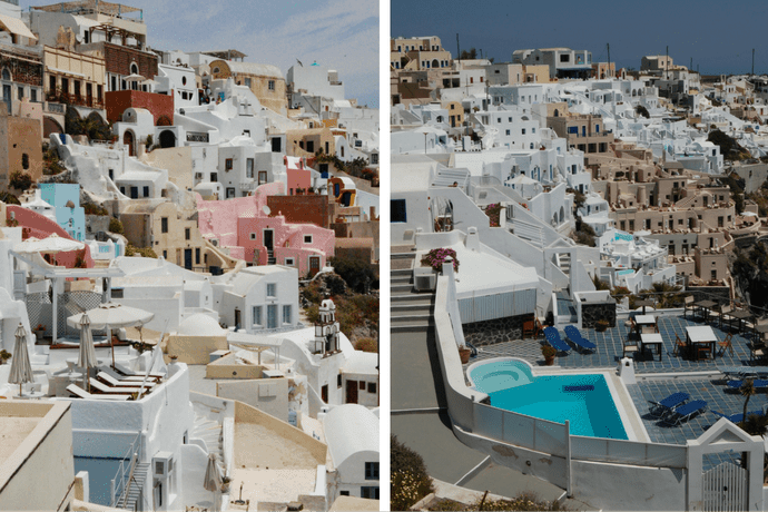 Santorini houses clinging to cliff