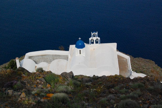 Blue domed church in Santorini, Greece