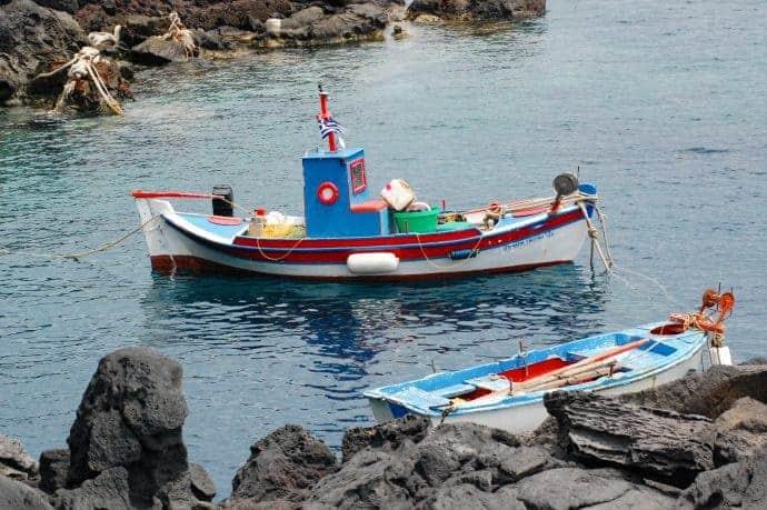 Boats in Ammoudi Bay, Santorini