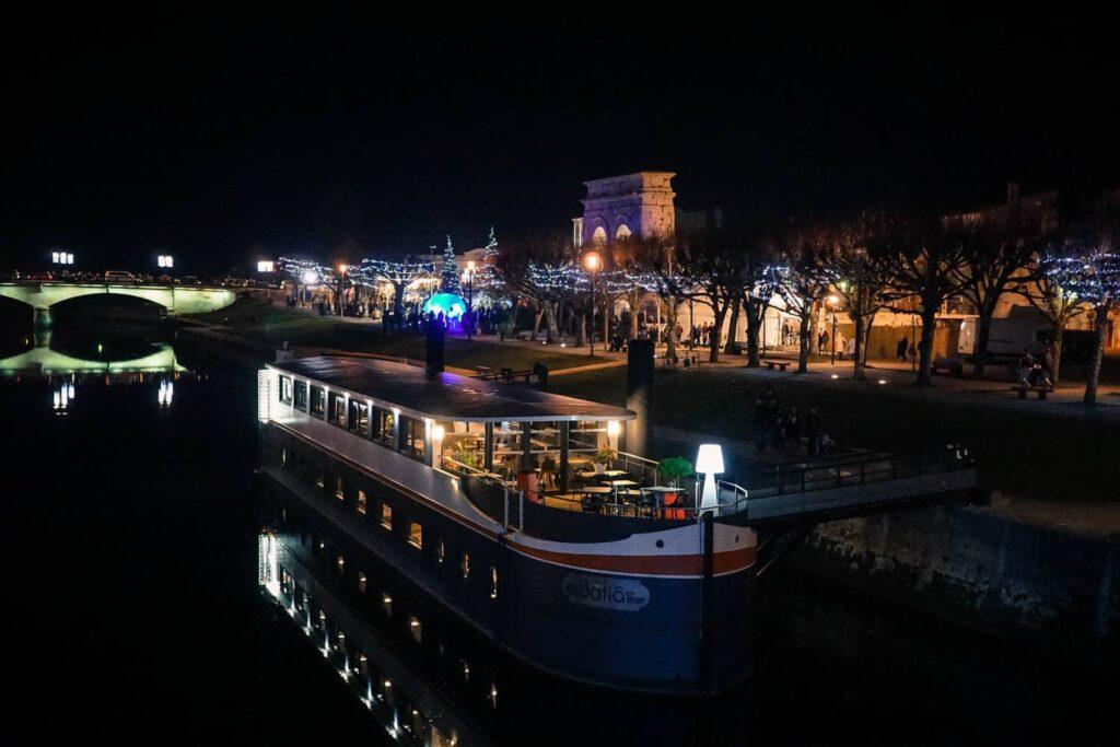 Saintes at night. Saintes Cultural events. France