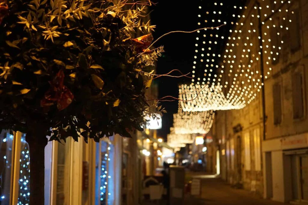 Saintes at night. French towns at Christmas time.