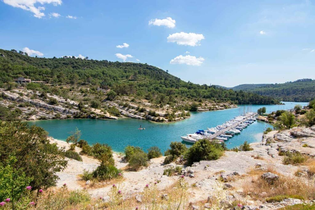 Lac d'Esparron is a beautiful lake with beaches near Aix-en-Provence