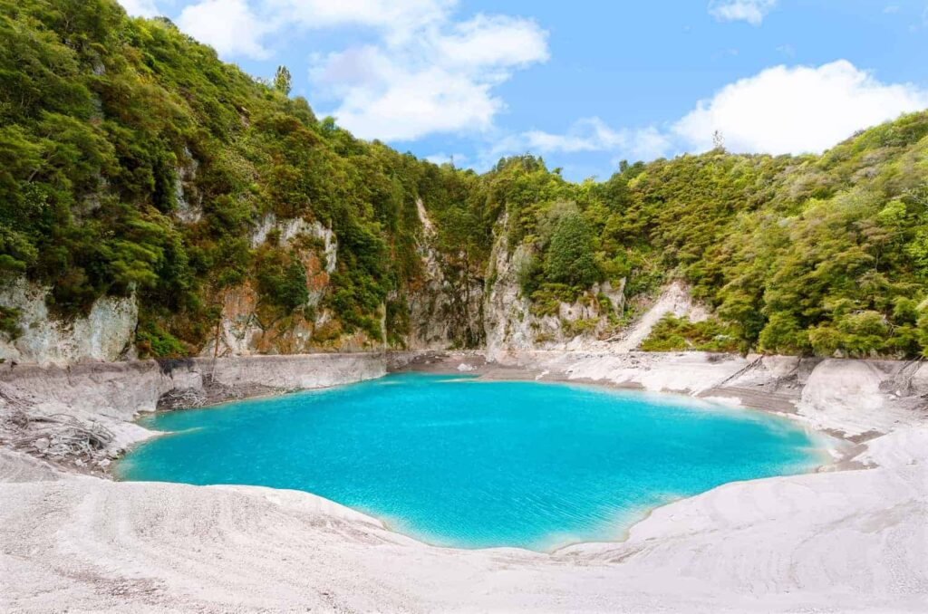 Inferno Crater Lake in New Zealand. A unique New Zealand attraction.