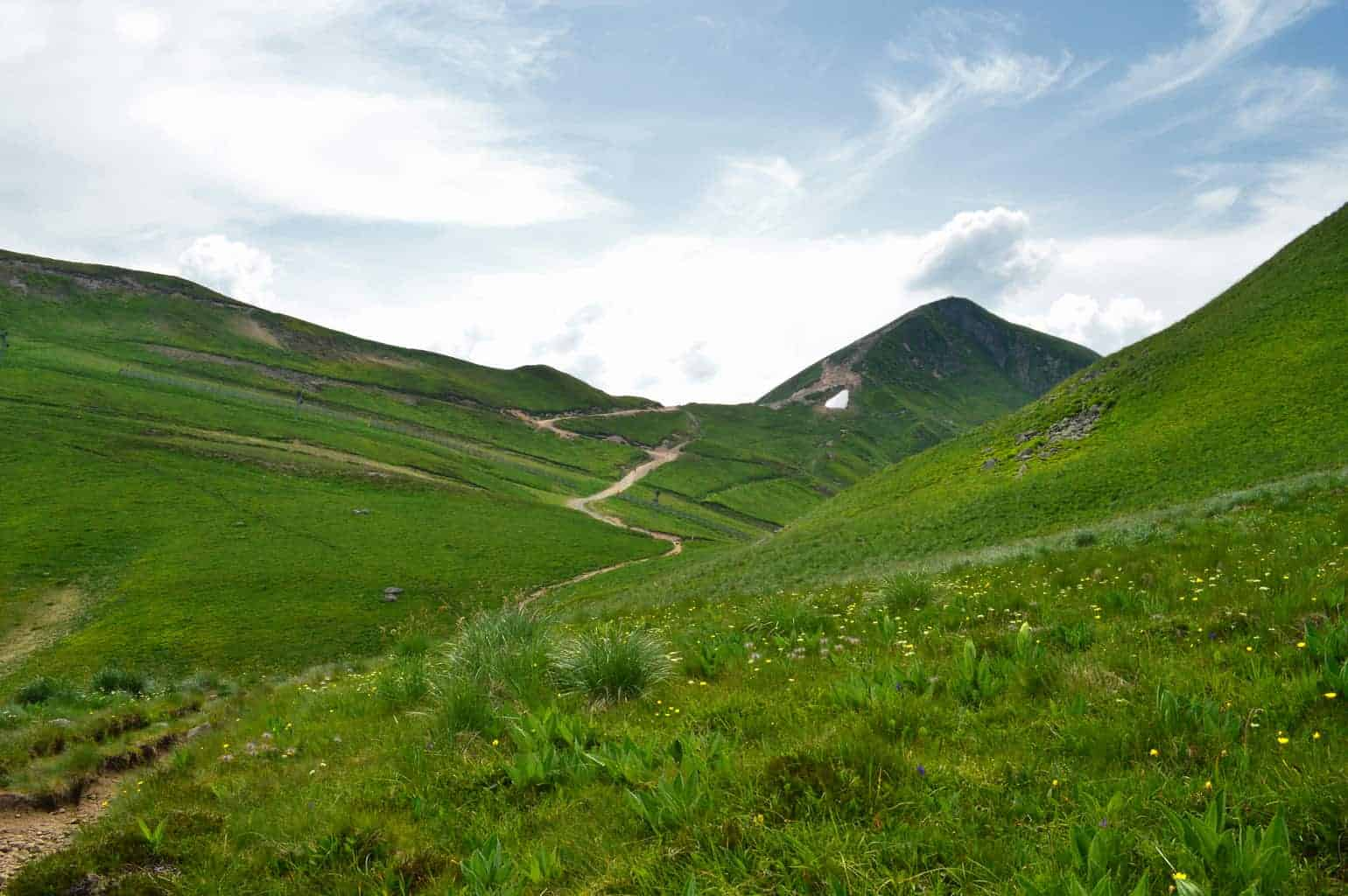 The Massif de Sancy is one of the best hiking trails in Auvergne, France.