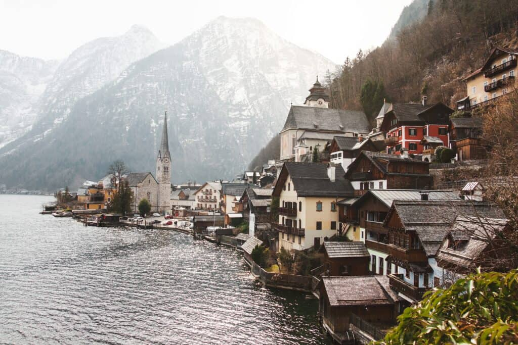 The fairytale town of Hallstatt in Austria is one of the most beautiful places to visit in Europe in January.