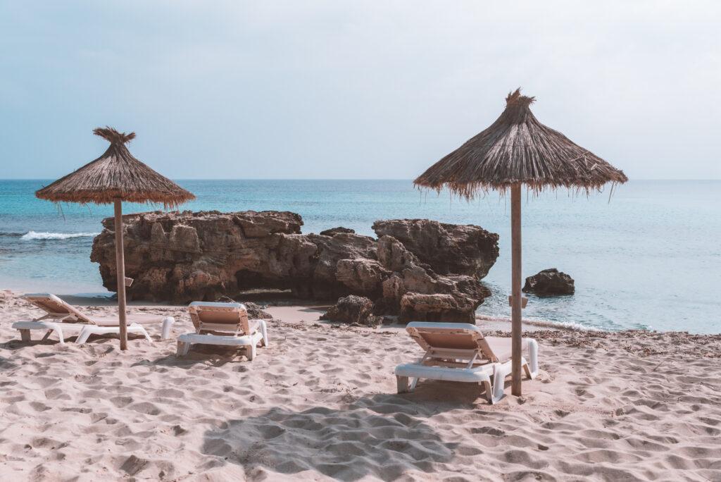 Platja Es Arenals beach in Formentera, Spain