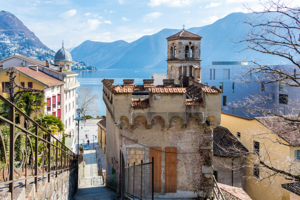 Lugano, Switzerland is a beautiful place to visit in Europe in the Fall.