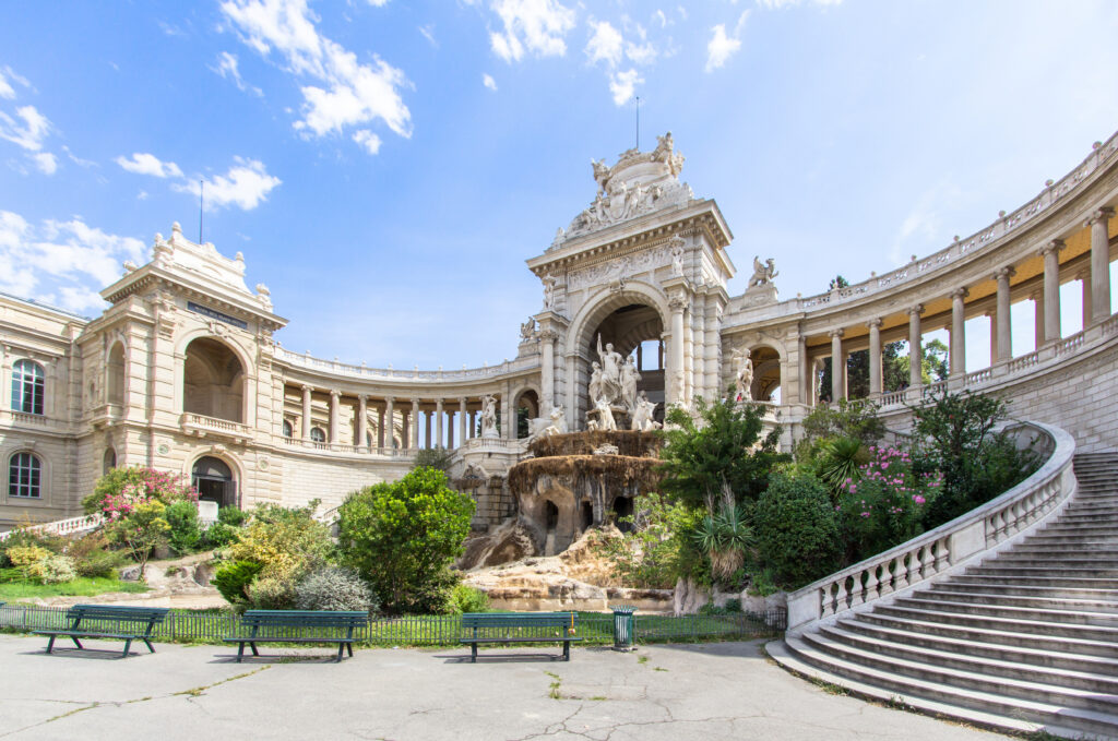 Outside view of Palais (Palace) Longchamp, Marseille, France