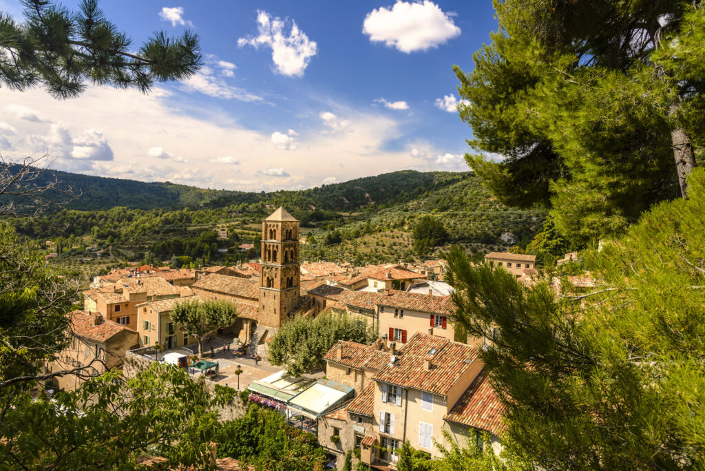 The village of Moustiers-Sainte-Marie overlooking the Valensole Plateau in Provence, France